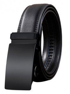 Vintage Automatic Buckle Artificial Leather Belt - Black 110cm