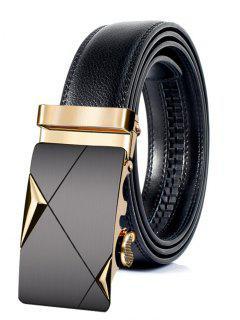 Cinturón De Cuero Artificial De Hebilla De Metal Automático Vintage - Dorado 110cm