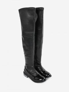 Curb Chain Low Heel Over The Knee Boots - Black 36