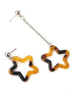 Five Stars Shape Hollow Out Drop Earrings - Brown