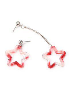 Fünf Sterne Form Aushöhlen Ohrringe - Rot