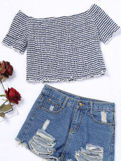 Smocked Stripes Schulterfrei Top - Streifen  L