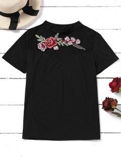Top à Fleurs Brodées - Noir M