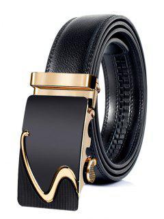 Cinturón De Cuero Artificial Con Hebilla Automática De Estilo Profesional - Dorado 130cm
