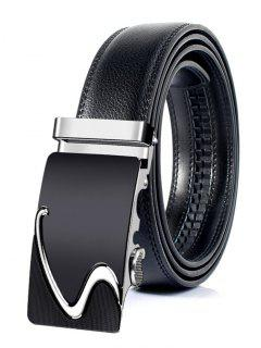 Business Style Automatic Buckle Artificial Leather Belt - Silver 130cm
