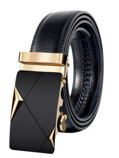 Metal Buckle Faux Leather Automatic Buckle Wide Belt - Golden 120cm
