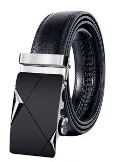 Metal Buckle Faux Leather Automatic Buckle Wide Belt - Silver 110cm