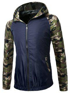Zip Up Raglan Sleeve Camo Hooded Lightweight Jacket - Deep Blue 3xl
