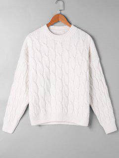 Cable Knit Pattern Drop Shoulder Sweater - Off-white