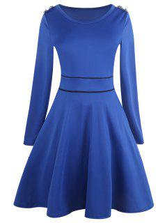 Vintage Long Sleeve Epaulet Dress - Blue M