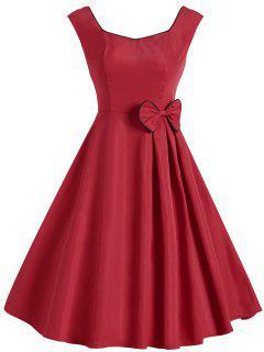 Robe Vintage Sans Manches Avec Noeud Papillon - Rouge Xl