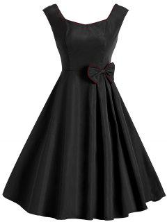 Vintage Bowknot Sleeveless Dress - Black Xl