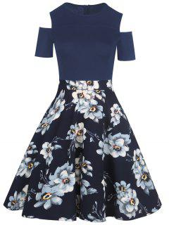 Cold Shoulder Floral Print Vintage Dress - Purplish Blue L
