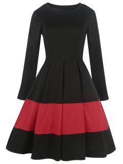 Robe Trapèze Contrastante Vintage  - Noir 2xl