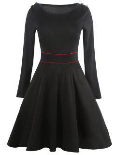 Vintage Long Sleeve Epaulet Dress - Black L