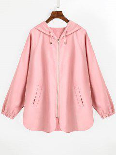 Drawstring Hooded Zip Up Coat - Pink L