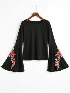 Floral Patched Flare Sleeve Tee - Black M