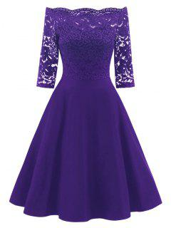 Lace Panel Off The Shoulder Vintage Flare Dress - Purple S