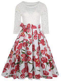 Vintage Lace Panel Flower Print Dress - White 2xl