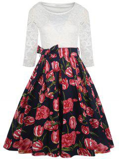 Vintage Lace Panel Flower Print Dress - Black L