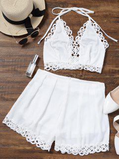 Conjunto De Pantalón Y Pantalón Corto De Encaje En El Panel - Blanco L