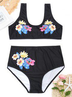 Floral Plus Size High Waisted Bikini - Black 3xl