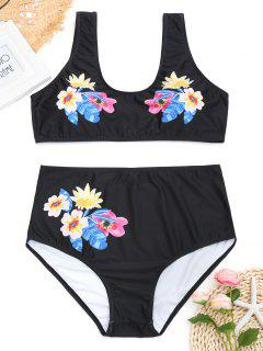 Floral Plus Size High Waisted Bikini - Black 2xl