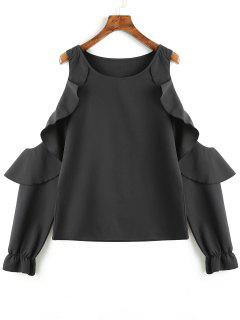 Ruffles Cold Shoulder Blouse - Black S