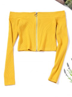 Zip Up Knitted Off Shoulder Top - Mustard S