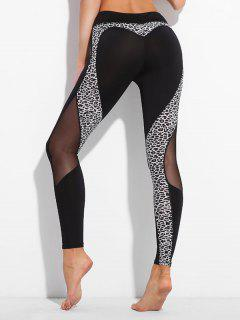 Leopard Mesh Panel Leggings - Black M