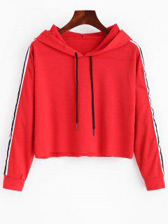 Striped Crop Hoodie - Red S