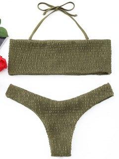 Smocked Bandeau Bikini Set - Army Green M