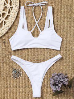 Conjunto De Bikini De Tanga De Corte Alto - Blanco L