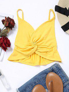 Cropped Twist Bralette Tank Top - Yellow L