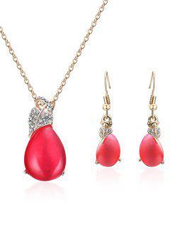 Conjunto De Joyas Adornadas En Forma De Corazón De Imitación De Cristal - Rojo