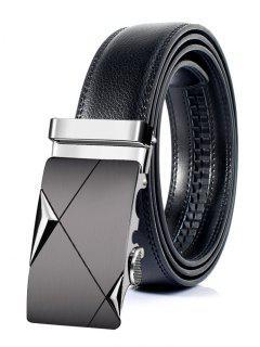 Cinturón Retro De Cuero Artificial Con Hebilla Automático De Metal - 130cm