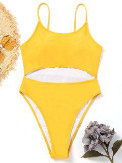 Cut Out One Piece High Leg Swimwear - Yellow L