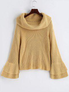 Flare Sleeve Cowl Neck Pullover Sweater - Light Camel S