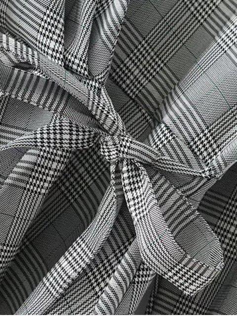 lady Plaid Ruffles Wrap Blouse - CHECKED L Mobile