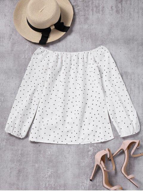 Puños elásticos lunares blusa hombro - Blanco L Mobile