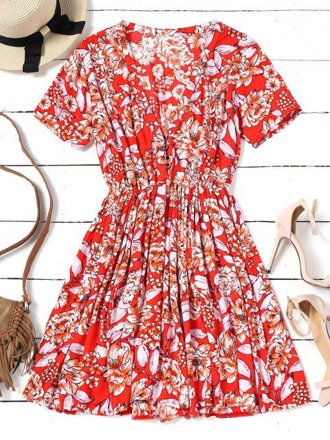Mini vestido floral de media manga con botones - Rojo S Mobile