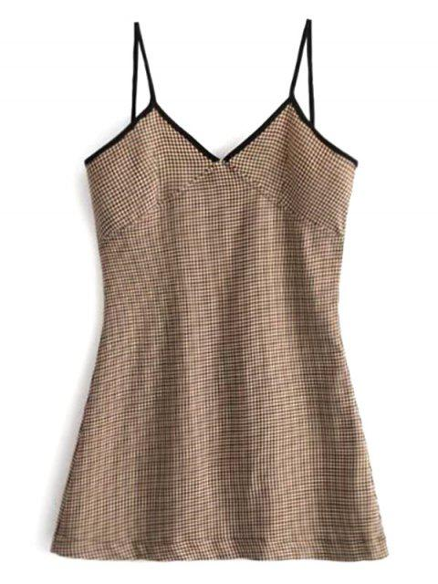 chic Contrast Trim Houndstooth Mini Dress - BROWN M Mobile