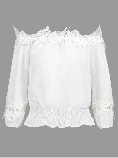 Blusa con panel de encaje desgastado en el hombro - Blanco L Mobile