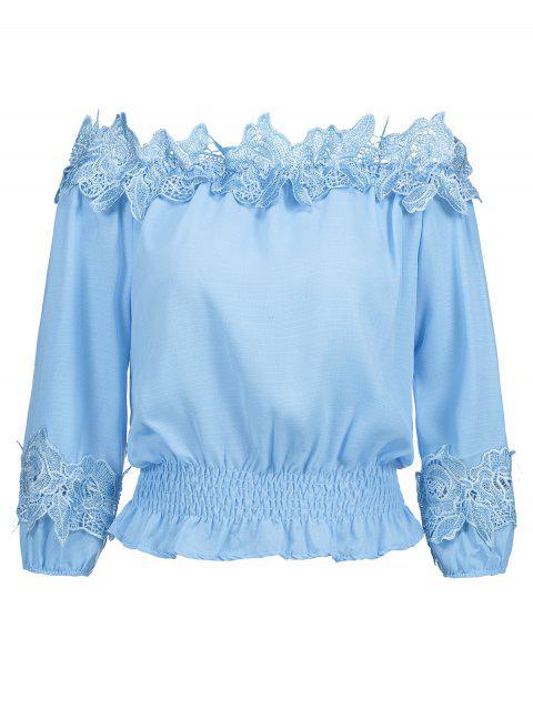 Blusa con panel de encaje desgastado en el hombro - Azul Claro S Mobile
