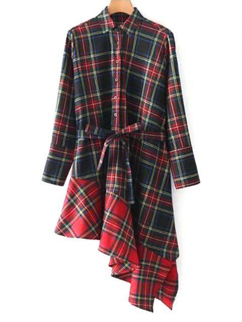 Vestido camisero asimétrico de manga larga a cuadros - Comprobado L Mobile