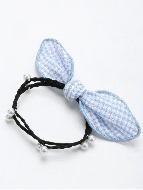 hot Artificial Pearl Bows Elastic Hair Band - BLUE  Mobile