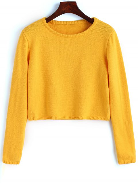 latest Pullover Plain Cropped Sweater - YELLOW M Mobile