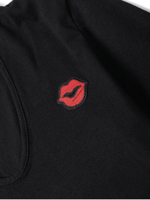 unique Lip Embroidered Patches Choker Bodysuit - BLACK S Mobile
