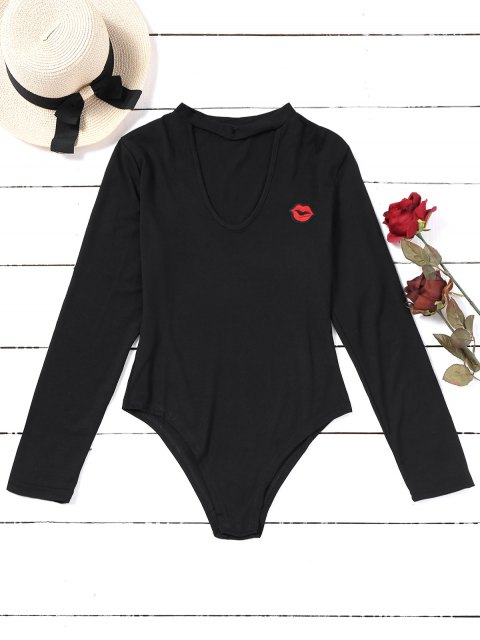 sale Lip Embroidered Patches Choker Bodysuit - BLACK M Mobile