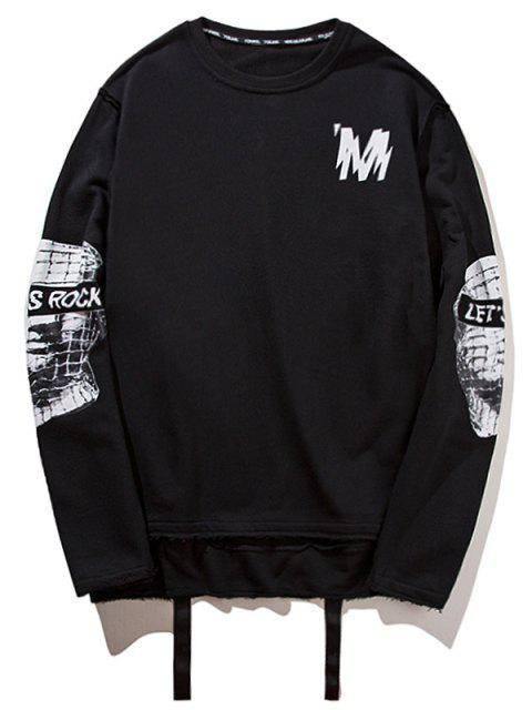 affordable Ribbon High Low Graphic Sweatshirt - BLACK M Mobile